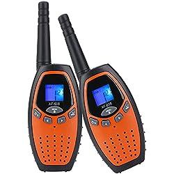 Befove Walkie Talkies Niños, PMR 446 MHz 0.5W 8 Canales, LCD Pantalla Función VOX, Larga Distancia Range de hasta 3KM, Regalos de Cumpleaños Juguetes de Niños Radio,aranja