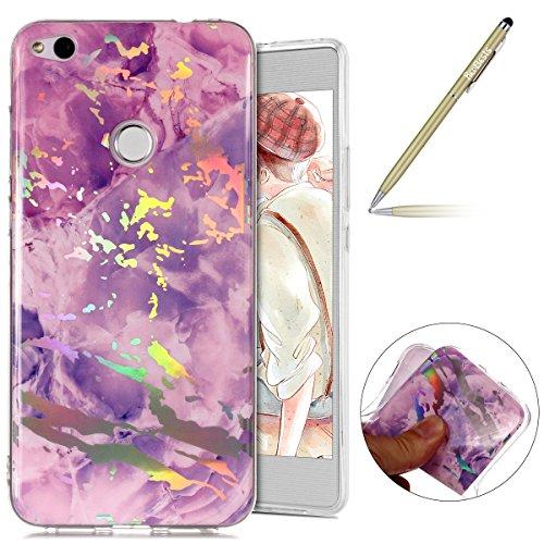 Hülle Huawei P8 Lite 2017 Schutzhülle Silikon Handytasche Marmor Muster Glänzend Glitzer Kristall Bling Transparent Durchsichtige Tasche TPU Bumper Case,lila ()