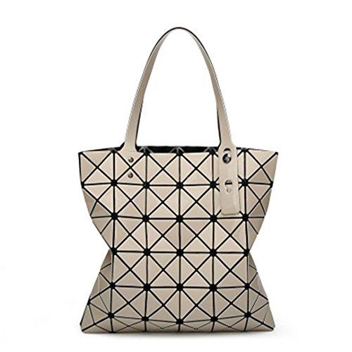 Einklappen der Gesteppten Frauen Handtaschen Diamond Geometrie Laser Sommer weiblich Taschen Plaid Top-Handle Bag Fake Designer Handtaschen khaki Top-Handle Tasche 32,5 X 32,5 cm (Top Gedruckt Strass)