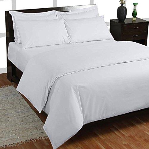 500hilos 5piezas Juego de sábanas con sábana bajera ajustable (blanco sólido, tamaño...