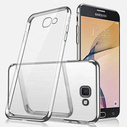 Uposao Kompatibel mit Galaxy J5 Prime/On5 2016 Hülle Plating TPU Case mit Überzug Farbig Rahmen Hülle Transparent TPU Silikon Handyhülle Ultra dünn Durchsichtige Schutzhülle,Silber