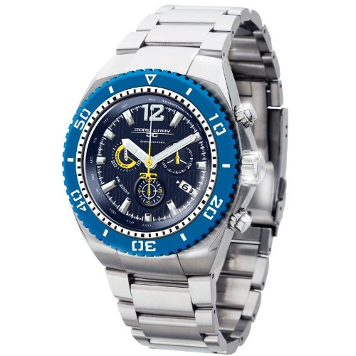 Jorg Gray Men's Quartz Watch with Blue Dial Chronograph Display and Silver Stainless Steel Bracelet JG9700-24