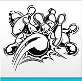 shensc Wandaufkleber Vinyl Applique Bowling Dekoration Abnehmbare Wandtattoos Cartoon Wohnzimmer Art Decor Wandaufkleber 58x68cm