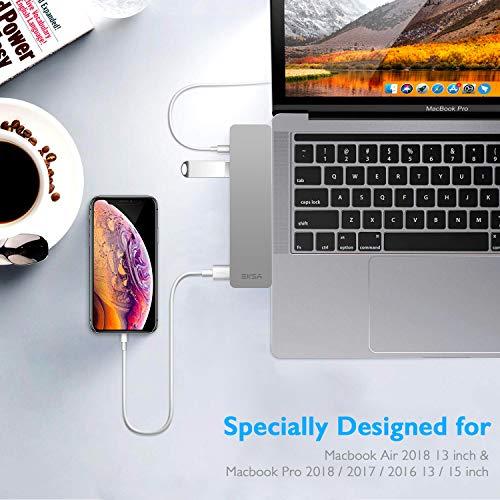 "EKSA USB C Hub Adapter, Upgraded Aluminum 7 in 1 Type C Hub for MacBook Pro 13"" and 15"" 2016/2017/2018, USB C to HDMI, Thunderbolt 3 &TF/SD Card Reader, USB-C Power Supply, 2 USB 3.0 Ports Image 7"