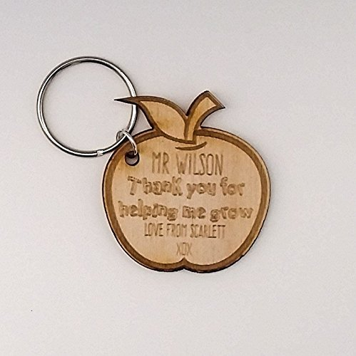 Wooden apple Keyring ~ Personalised Apple ~ Thank you for helping me grow ~ School Leavers End of Term Gift ~ Thank you Teachers Present ~ Student Gift