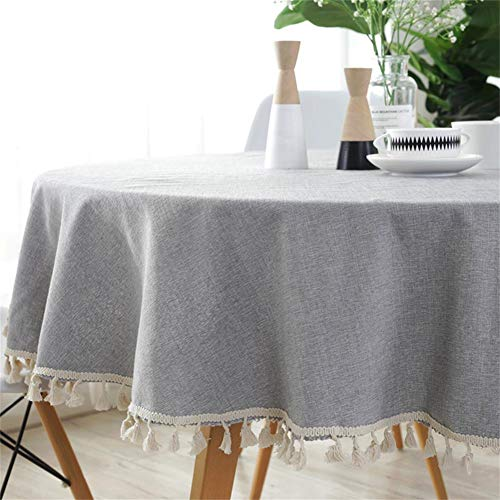 Homcomodar - Mantel Lavable algodón Lino Mesa Comedor