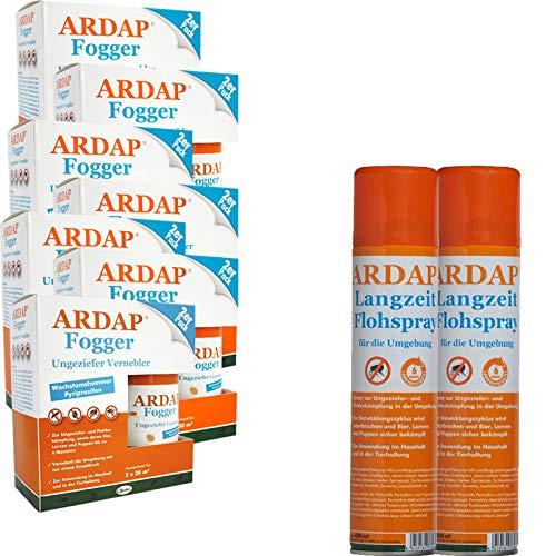 ARDAP Set 2 x 400 ml Flohspray + 10 x 100 ml Fogger gegen Flöhe und Ungeziefer