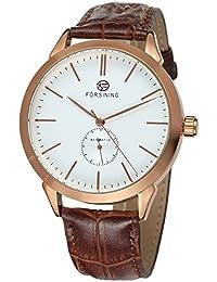 Gute Rose goldfarbene Edelstahl Herren Automatische mechanische Armbanduhr mit weißem Zifferblatt