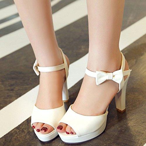Senhoras Taoffen Elegante Planalto Peep-toe Bloco Calcanhar Slingback Sandálias Brancas