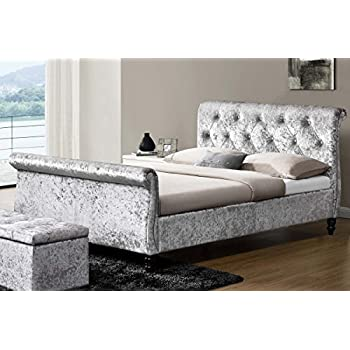 luxury upholstered westminster crushed silver velvet fabric scrolled sleigh bed frame double or king