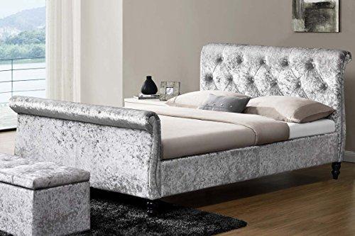 Sleep Design Westminster Bett-Rahmen, gepolstert, Pannesamt, silberfarben, Enden in Schnörkelform, GrößeDoppelbett oder Kingsize, Textil, silber, King Size