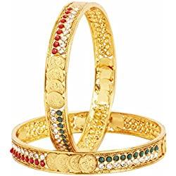 The Jewelbox Lakshmi Coin Ginni American Diamond Red Green Gold Plated Bangle Set of 2 (Pair) for Women