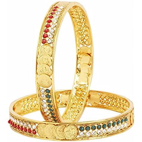 El joyero moneda Lakshmi Ginni American diamante rojo verde sistema del brazalete chapado en oro (par) 2 de las mujeres