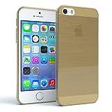 Apple iPhone 5 / 5S / SE Schutzhülle Silikon, gebürstet I von EAZY CASE I Slimcover in Edelstahl Optik, Handyhülle, TPU Hülle / Soft Case, Backcover, Silikonhülle Brushed, Gold