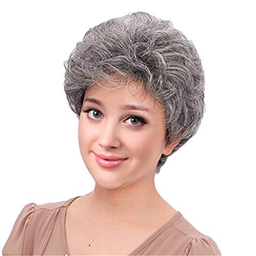 bestung kurz silber grau synthetische Perücken flauschig Little gewellt Mom grau Kostüm Perücken für Mitte Alter Frauen Office Lady