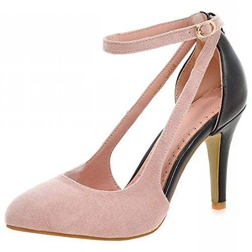 Azbro Women's Pointed Toe Cutout Ankle Strap Stiletto Sandals Pink