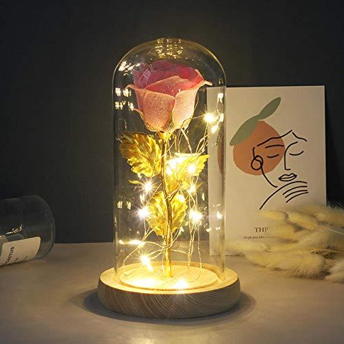 Miminuo Ewige Rose Glas,Ewige Rose In Flasche Hochzeitsdekoration Künstliche Blumen In Glas Für Valentinstag Geschenk-A20