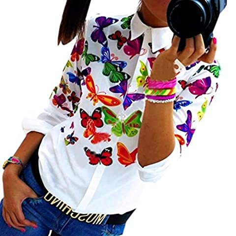 Women Chiffon Blouse, Internet Women Butterfly Chiffon Tops Casual Long Sleeve Shirt Blouse (UK 10-12,
