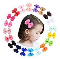 YALUN Tiny No Slip Hair Clips for Baby Girls Toddlers Fully Lined 2-3 inch Ribbon Hair Bow Alligator Clips Hair Accessories Pack of 20pcs with Gift Bag(multicolor) (Style 2)