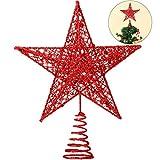 Blulu 10 Pulgadas Sombrero de Copa de Estrella de Árbol de Navidad Decoración Navideña Estrella Brillante de Copa de Árbol (Rojo)