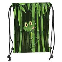 GONIESA Drawstring Sack Backpacks Bags,Animal Decor,Funny Illustration of Friendly Fun Frog on Stem of the Bamboo Jungle Trees Cute Nature Print,Green Soft Satin,5 Liter Capacity,Adjustable Str