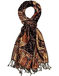 Lorenzo Cana Italian Scarf Pashmina Silk Wool Shawl 75'' x 28'' Brown Gold Orange 781311