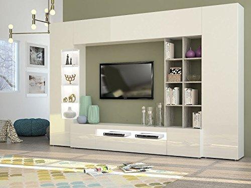 Parigi composizione soggiorno made in italy bianco e cemento. dimensioni (lhp) in cm. 290191x40 disponibile in quattro colori a scelta.