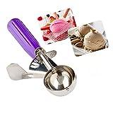 Conos de helado, Cookie cuchara melón Baller con disparador para frutas, helado cuchara de acero inoxidable scoopers- elegante paquete de regalo (Purple)