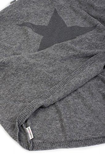 styleBREAKER morbido poncho in maglia con stampa di stelle e glitter, girocollo, donna 08010028 Blu chiaro-Grigio