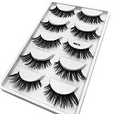 masrin 3D Wimpern natürliche Dicke künstliche künstliche Wimpern 5 Paare (K, schwarz)