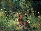 Posterlounge Leinwandbild 160 x 120 cm: Rotkäppchen und der Wolf von Carl Larsson - fertiges Wandbild, Bild auf Keilrahmen, Fertigbild auf Echter Leinwand, Leinwanddruck