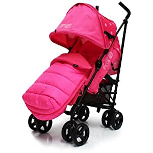 Zeta Vooom Raspberry (Dots) Pink Complete With Footmuff And Rainocver Complete Pushchair Buggy From Birth