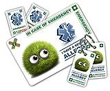 Enfant d'allergies en cas d'urgence () Lot de cartes avec porte-clés et d'autocollants à partir de ICEcard. Portefeuille Taille carte avec envers à transporter d'urgence personnalisable Contact & Medical/médicaments d'informations. Convient pour les personnes avec Acute Medical des conditions