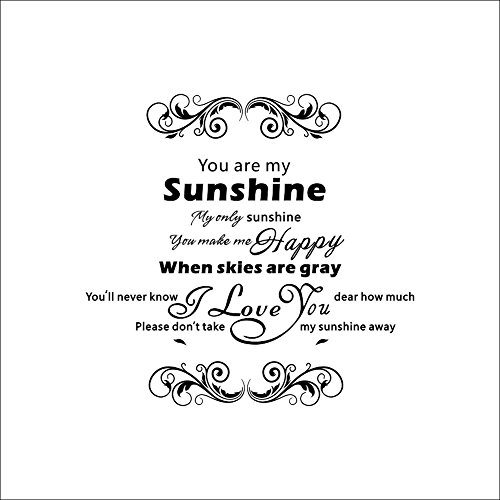 Rainbow Fox You Are My Sunshine Art Wall Sticker Words Letter Quote Wall Sticker Decalcomanie Home Wall Sticker