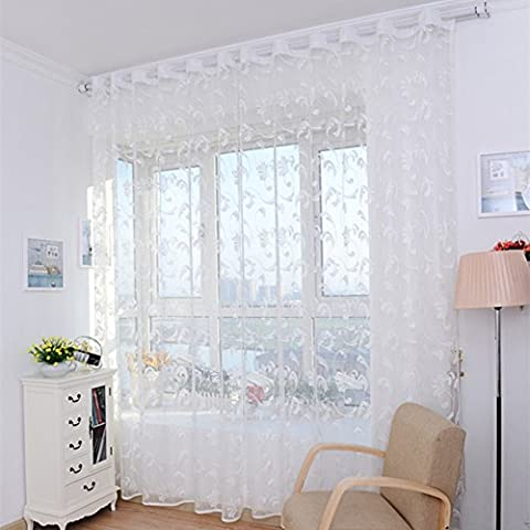 2Platten Tüll Voile Tür Fenster Vorhang Tuch Panel Sheer Schal Volants für Schlafzimmer Wohnzimmer Veranda (99,1x 248,9cm/Panel) weiß