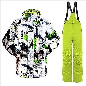 Formulaone Skianzug Set, Schnee Professionelle Ski Anzüge Erwachsene, Wild Ski Jacke Herren, Outdoor Windproof Ski Hosen für Männer Schwarz Grün L
