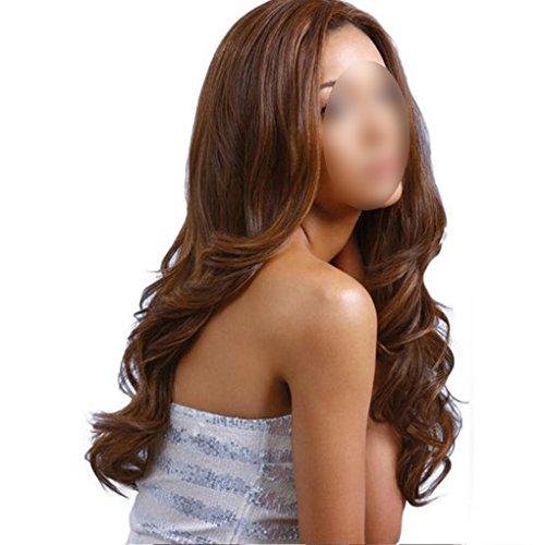 QHGstore Dunkelbraune Hitzebeständige lange lockige Perücken Haar Perücke natürliche Cosplay volle Haar Perücken (Graue Echte Perücken)