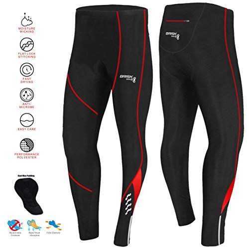 Brisk Bike Thermo-Radhosen Fahrradhosen Radsport-Leggings Fahrradhosen Radlerhosen gepolsterte Radhosen professionelle Radhosen Fahrradkleidung Mountainbike (Large, Black / Red Model 2)
