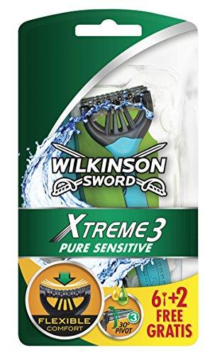 Wilkinson - Xtreme 3 Pure Sensitive - Rasoirs jetables masculins - Pack de 8