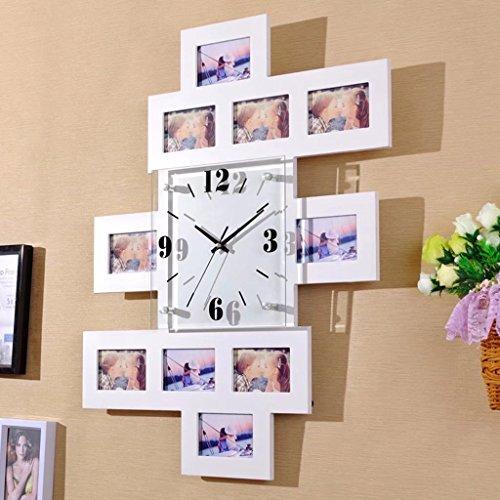 MCWC Moderne einfache hölzerne Wanduhr mit Bilderrahmen Indoor Home Decor Wanduhr, weiß