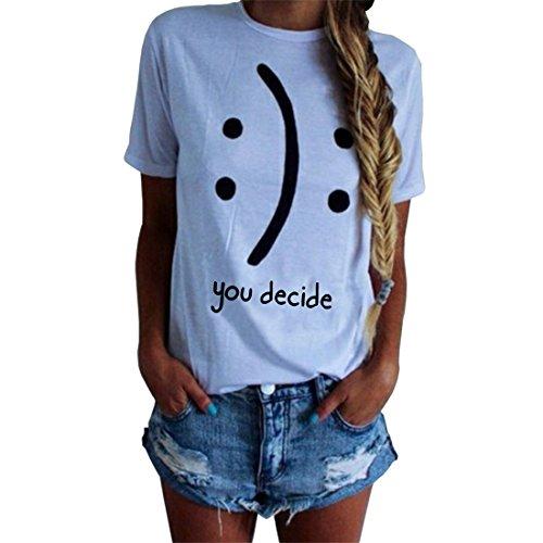 Blackmyth donna maniche corte cute maglietta lose girocollo casual tops signore baumwolle t-shirt bianco medium