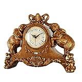 NNIU Kaminuhr Tischuhr, Elefant Stille Nicht tickende Dekoration für Wohnzimmer Nachttisch Uhr