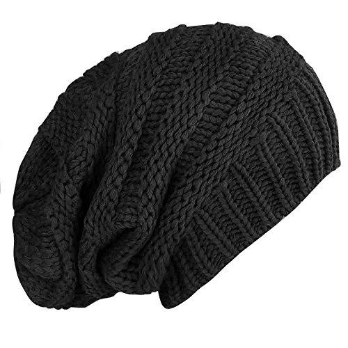caripe Mütze Long Beanie Strickmütze - viele Farben und Modelle - Snö (visk-long - schwarz)