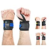 BEAR FIT - weight lifting wrist support wraps, one size fits all (sold in pairs) (BLUE)