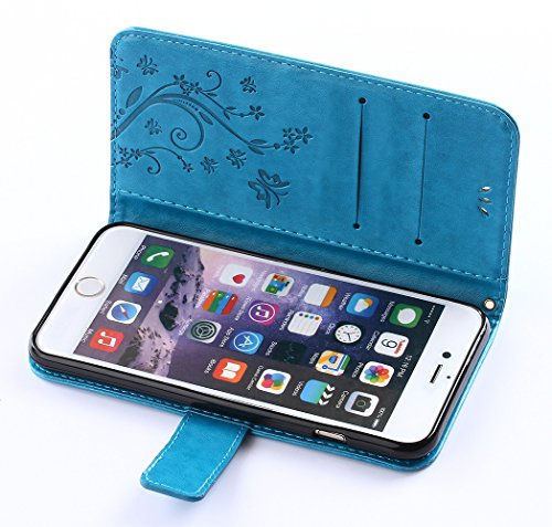 C-Super Mall-UK Apple iPhone 6 / 6s 4.7 Inch custodia,sbalzato farfalla & fiore modello PU Pelle Portafoglio Stand Flip cover per Apple iPhone 6 / 6s 4.7 Inch blue