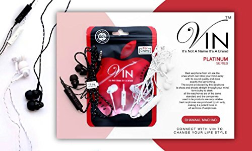 VIN Platinum Series Stereo Earphones In-Ear Headphone Headset Super Heavy Bass, Volume Control With Noice Cancellatione 3.5MM Jack In-Ear Headphone Compatible With Samsung, i Phone, Motorola,Sony,Oneplus, Htc, Lenovo, Nokia, Asus,Lg,Coolpad, Xiaomi, Micromax And All Android Mobiles By vin communication  available at amazon for Rs.187