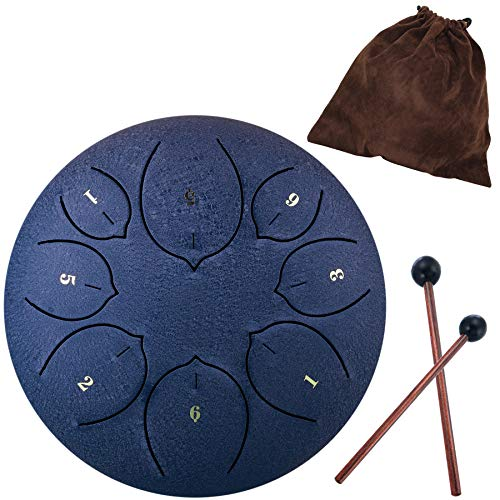 Lotus Handpan Zungentrommel 8 Noten 6 Zoll Chakra Tank Drum Stahl Percussion Hang Drum Instrument mit gepolsterter Reisetasche und Schlägel cyan
