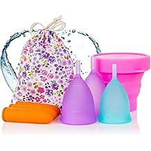 Copas menstruales Melyth - (2x grande y 1x pequeña) - Copa plegable gratis - Encuentra tu ajuste perfecto - La mejor alternativa a los tampones y las servilletas sanitarias de tela
