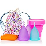 Melyth Menstruationstassen - (2x Groß & 1x Klein) - Kostenlose Faltbar Tragbare Reinigungsbecher - Finde deine...
