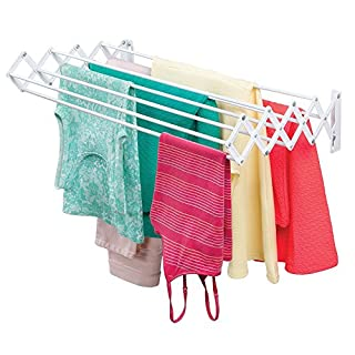 mDesign Clothes Horse - Clothes Drying Rack with 9 Rungs for Hanging Clothes - Wall Mounted ClothesHorse with Extendable Properties - White